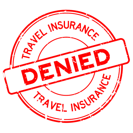 Grunge red travel insurance denied round rubber seal stamp on white background Ilustrace