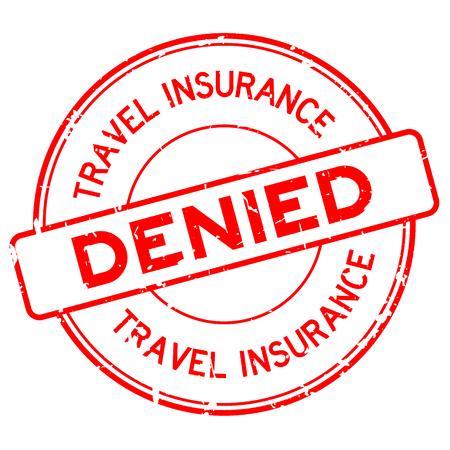Grunge red travel insurance denied round rubber seal stamp on white background Illustration