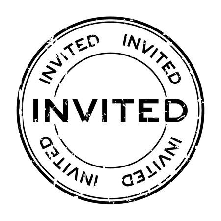 Grunge black invited word round rubber seal stamp on white background Illustration