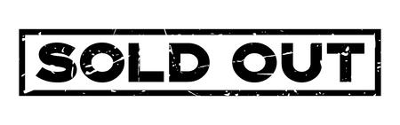Grunge black sold out wording square rubber seal stamp on white background Illustration