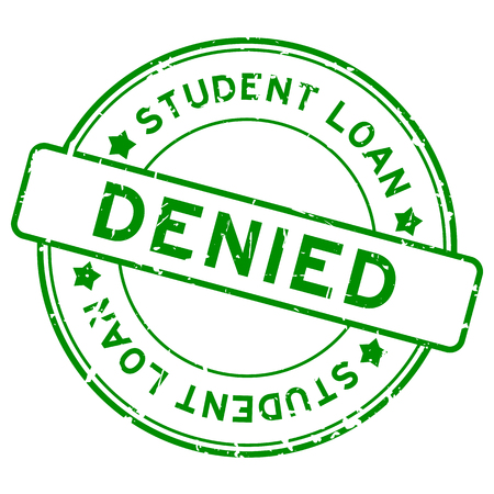 Grunge green student loan denied word round rubber seal stamp on white background