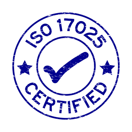 Grunge blue ISO 17025 certified with mark icon round rubber seal stamp on white background Vectores