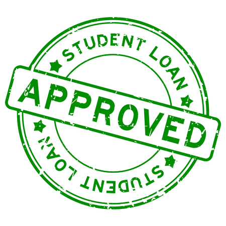 Grunge green student loan approved word round rubber seal stamp on white background Vectores