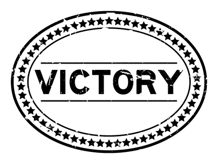 Grunge black victory word oval rubber seal stamp on white background