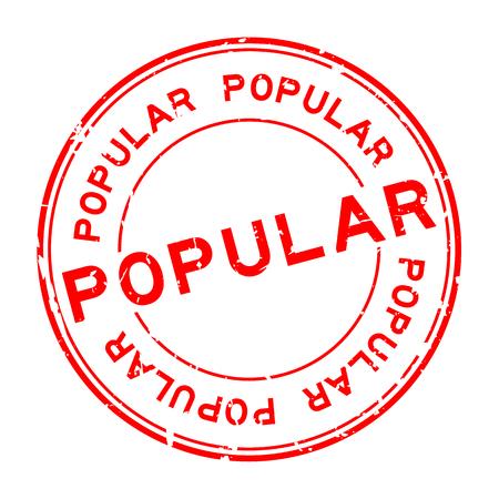 Grunge red popular word round rubber seal stamp on white background