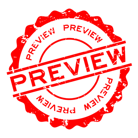 Grunge red preview word round rubber seal stamp on white background