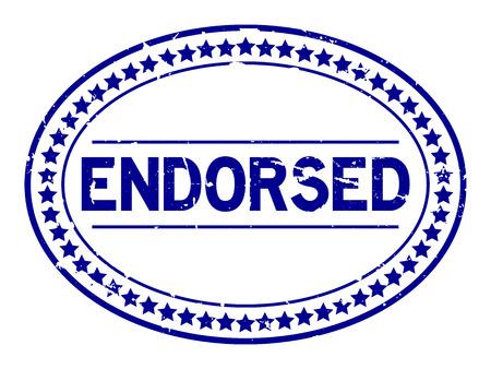 Grunge blue endorsed oval rubber seal stamp on white background Reklamní fotografie - 98414630