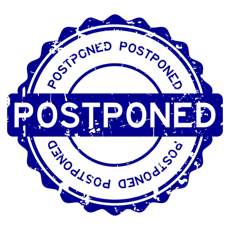 Grunge blue postponed word round rubber seal stamp on white background