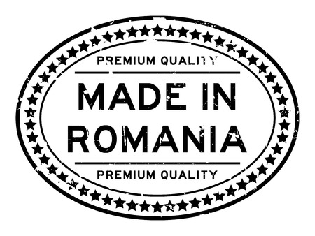 Grunge black premium quality made in Romania oval rubber seal business stamp on white background