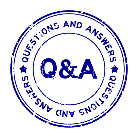 Grunge blue Q&A (Questions and Answers) rubber seal stamp on white background