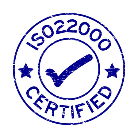 ISO 22000 blu di lerciume certificato con il timbro di guarnizione di gomma rotondo dell'icona del segno su fondo bianco