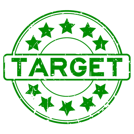 Grunge green target with star icon round rubber stamp