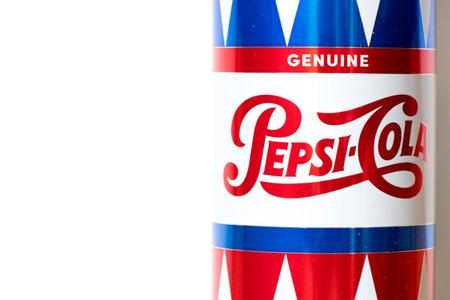 Bangkok, Thailand, March 16, 2018 : Pepsi cola brand on aluminium can 245 ml on white background