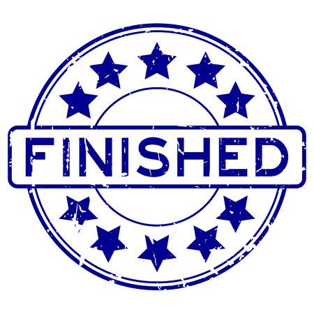 Grungeblauw eindigde met sterpictogram om rubberzegelzegel op witte achtergrond