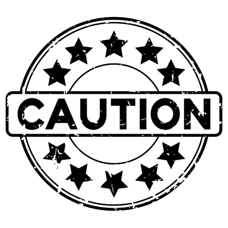 Grunge black caution word round with star icon rubber seal stamp on white background Illustration
