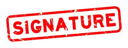 Grunge red signature word square rubber seal stamp on white background Ilustração