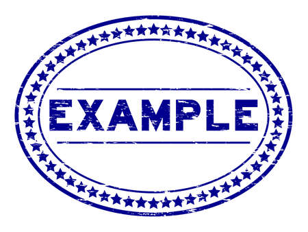 Grunge blue example oval rubber seal stamp on white background