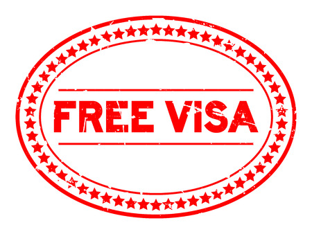 Grunge red free visa oval rubber seal stamp on white background Фото со стока - 101281799