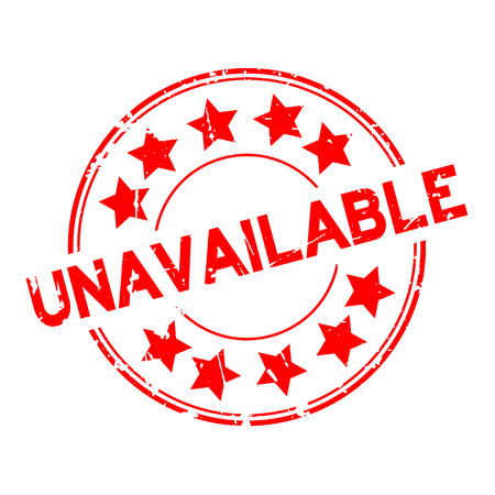 Grunge rood niet beschikbaar woord met sterpictogram ronde rubberzegel op witte achtergrond