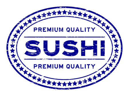 Grunge blue premium quality sushi oval rubber seal stamp on white background Иллюстрация