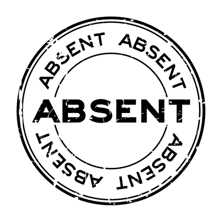 Grunge black absent word round rubber seal stamp on white background