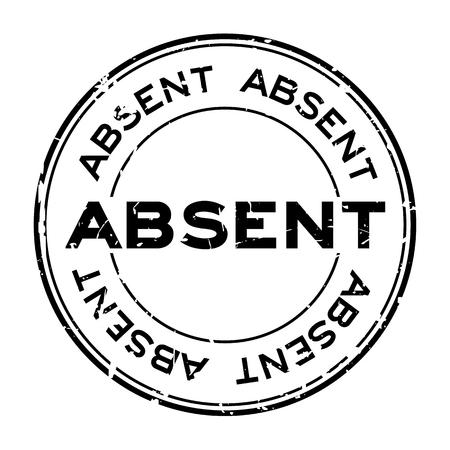 Grunge black absent word round rubber seal stamp on white background