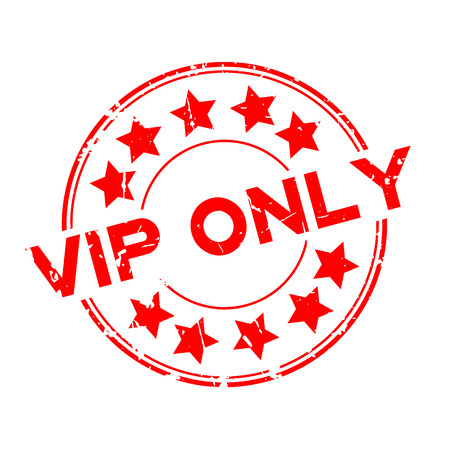 Grunge red VIP (abbreviation of very important person) only word with star icon round rubber seal stamp on white background