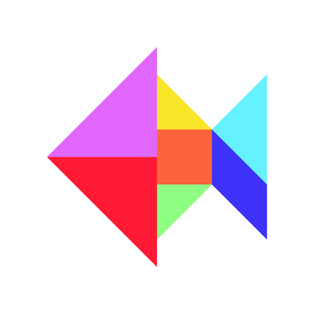 Color tangram in fish shape on white background (Vector)