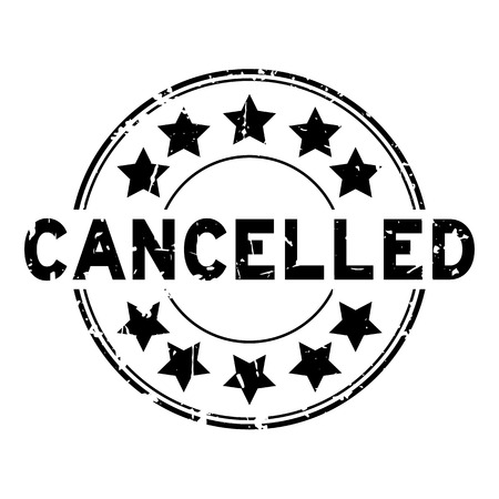 Grunge black cancelled with star icon round rubber seal stamp on white background