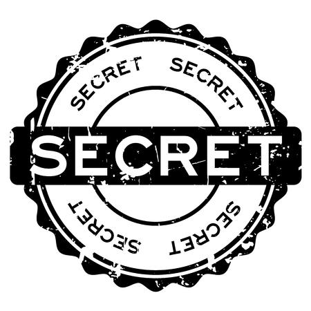 Grunge black secret word round rubber seal stamp on white background