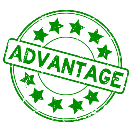 Grunge green advantage with star icon round rubber seal stamp on white background 写真素材 - 102792907