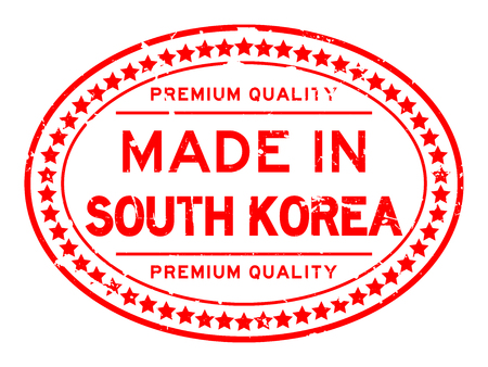 Grunge red premium quality made in south korea oval rubber seal stamp on white background