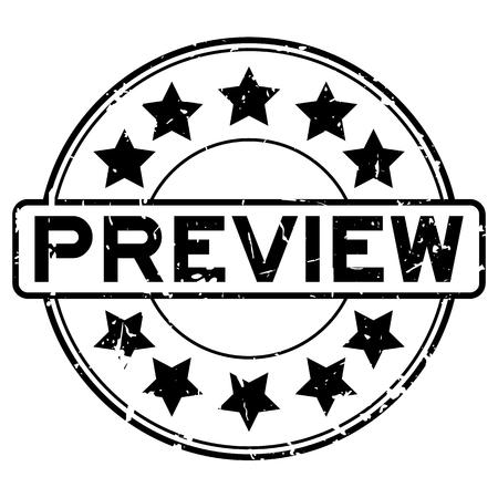 Parola di anteprima in gomma nera grunge con icona a forma di stella tondo timbro di gomma della guarnizione su priorità bassa bianca Vettoriali