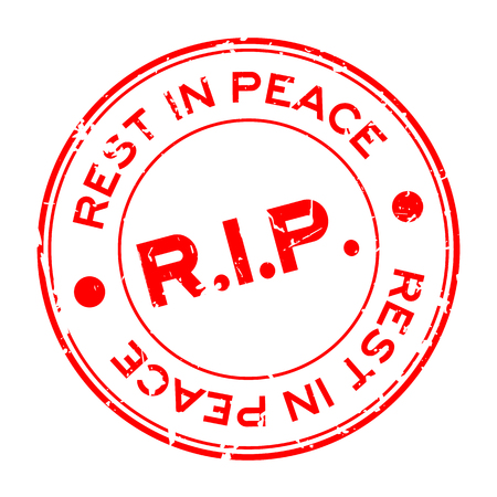 Grunge red R.I.P (Rest in Peace) round rubber seal stamp on white background