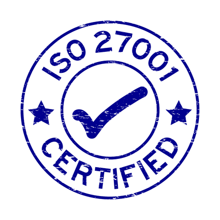 Grunge blue ISO 27001 certified round rubber seal stamp on white background Illustration