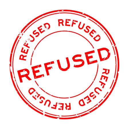 Grunge red refused word round rubber seal stamp on white background