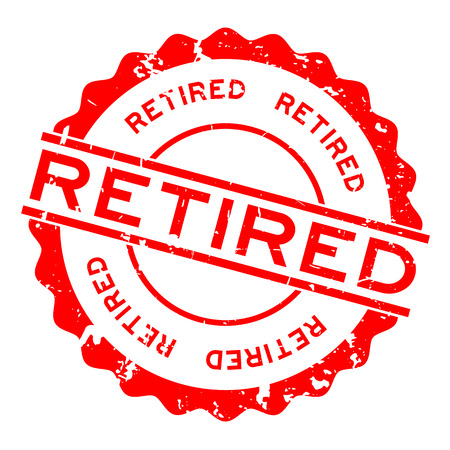 Grunge red retired word round rubber seal stamp on white background