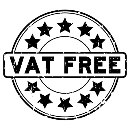Grunge black vat free word with star icon round rubber seal stamp on white background Illustration