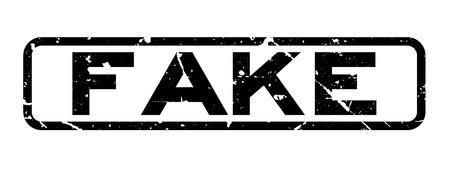 Grunge black fake word square rubber seal stamp on white background