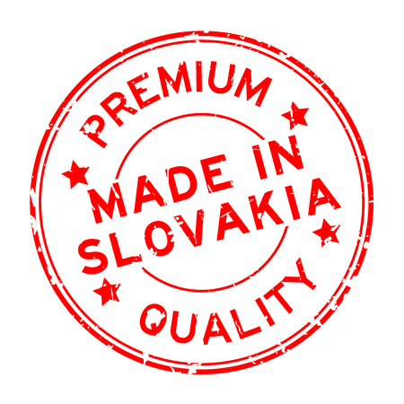 Grunge red premium quality made in Slovakia round rubber seal stamp on white background