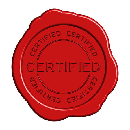 Round red color certified wax seal on white background Illustration