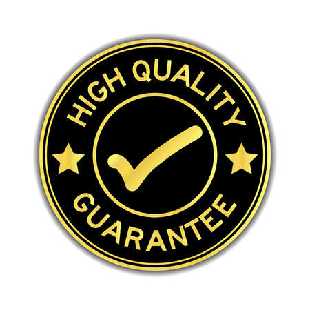 Black and gold color high quality guarantee with mark icon round seal sticker on white background Ilustração