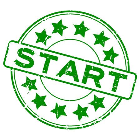 Grunge green start with star icon round rubber seal stamp on white background