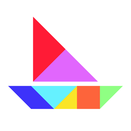 Color tangram puzzle in boat, ship or yacht shape on white background (Vector)