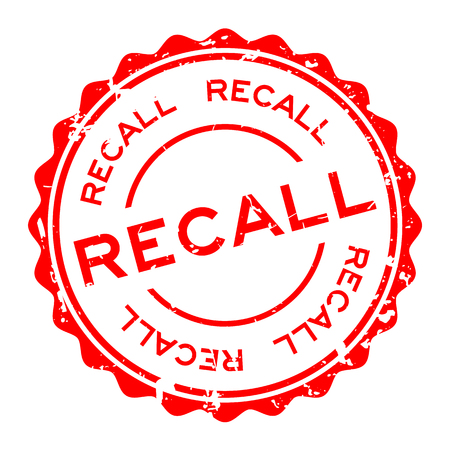 Grunge red recall word round rubber seal stamp on white background