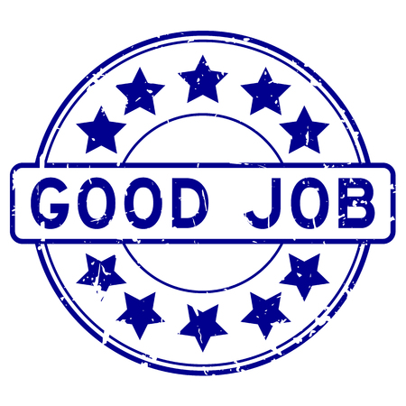 Grunge blue good job with star icon round rubber stamp on white background