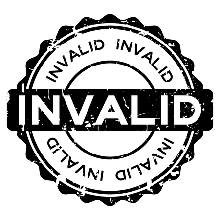 Grunge black invalid word round rubber seal stamp on white background