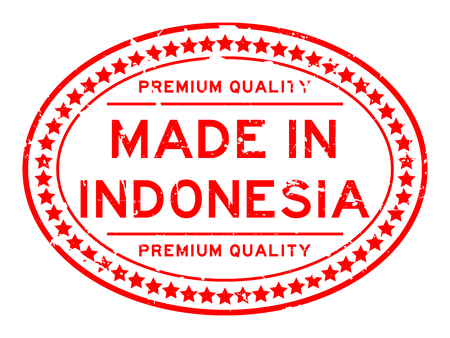 Grunge red premium quality made in Indonesia oval rubber seal stamp on white background
