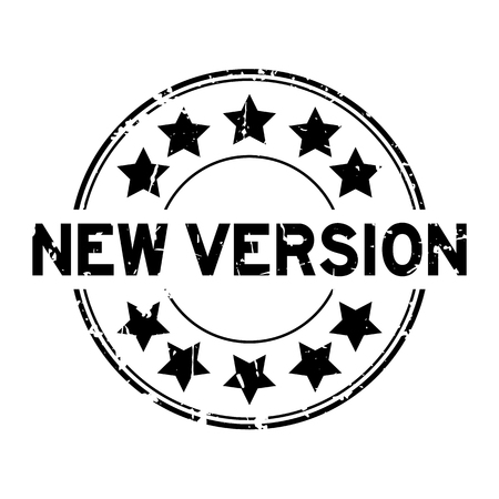 Grunge black new version word with star icon round rubber seal stamp on white background