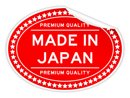 Premium red quality made in japan color oval seal sticker on white background